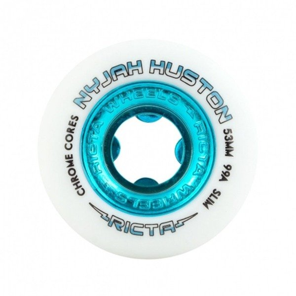 Koła Ricta Nyjah Huston Pro Chrome Core White Teal Slim 99a 53mm (zestaw 4szt.)
