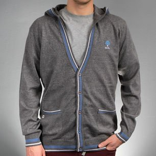 Sweter CARDIGAN HOOD heather grey